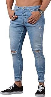 WanYangg Jeans Skinny da Uomo Strappati Ginocchia Jeans con Tasche Stretch Straight Slim Fit Stretto Denim Pantaloni Mode ...
