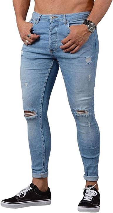WanYangg Hombre Skinny Vaqueros Desgarrados Jeans Largo Slim Fit Cremallera Casual Rajados Mezclilla Vaquero Pantalón Rotos Masculinos Moda Flaco ...