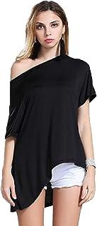 Blusas Sin Hombros Mujer Moda Camiseta Verano Casual Suelto Manga Corta T Shirt Pullover Tunica Tops Lisos