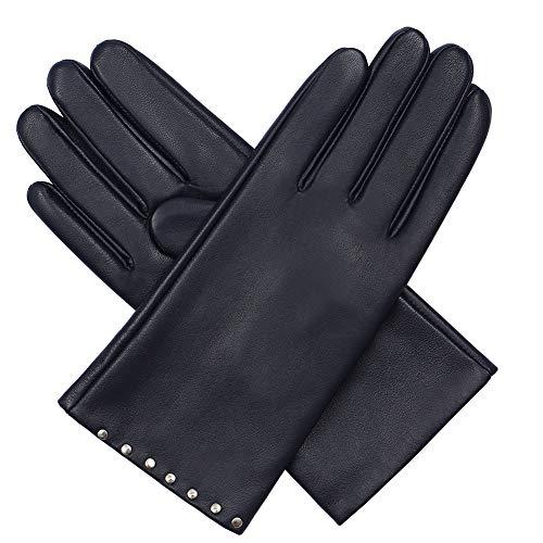 Acdyion Damen Winter Touchscreen Texting Handschuhe Elegant Echtleder Warm Kaschmirfutter Lederhandschuhe Tägliche Freizeit Outdoor (Blau, L)