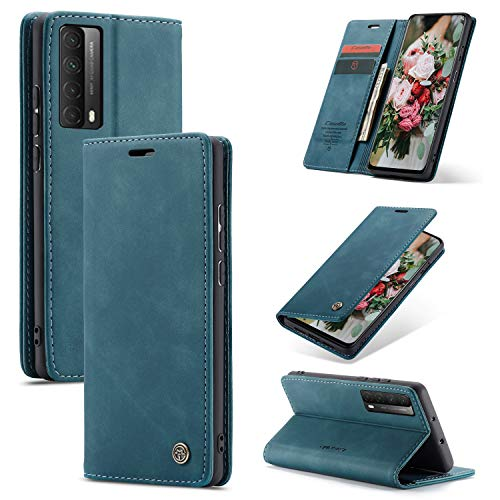 FMPC Handyhülle für Huawei P smart 2021/Y7a Premium Lederhülle PU Flip Magnet Hülle Wallet Klapphülle Silikon Bumper Schutzhülle für Huawei P smart 2021/Y7a Handytasche - Blaugrün
