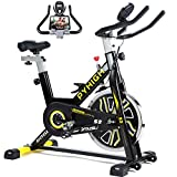 PYHIGH Indoor Cycling Bike Belt Drive Stationary Bicycle Exercise Bikes with LCD Monitor for Home Cardio Workout Bike Training (Black)