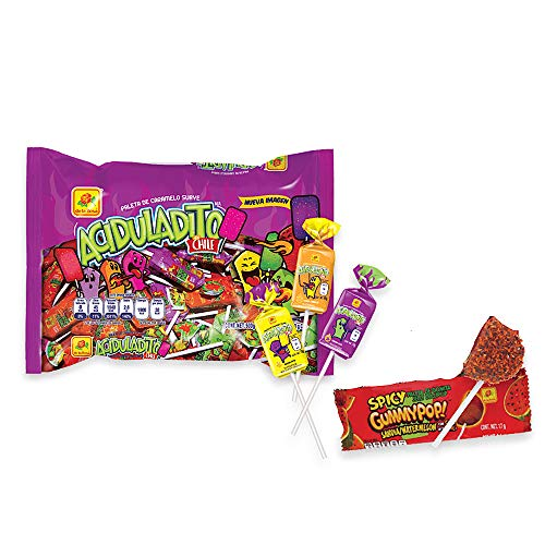 De la Rosa Sweet and Sour Chewy Pop with Chili 50 pcs And one spicy Gummy watermelon pop