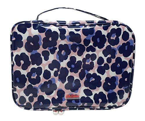 Cath Kidston 'Leopard Flowers' Rits Rond wassen, Cosmetische, Toilettas met Twee vakken in Gips Roze/Navy Oliedoek