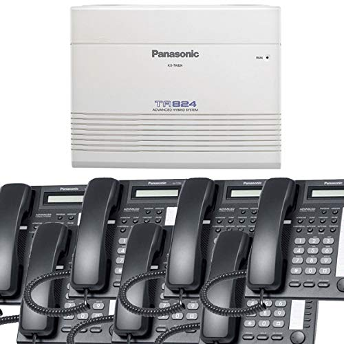 Panasonic Small Office Business Phone System Bundle Brand New includiing KX-T7730 7 Phones Black and KX-TA824 PBX Advanced Phone System