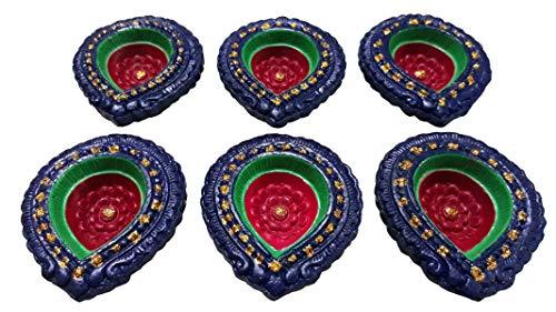 indianbeautifulstore Set mit 8 handgefertigten indischen Rangoli-Öllampen aus Ton, traditionell/Pooja, Ton, Terrakotta, Dochtbrenner mit 12 Baumwolldochten gratis