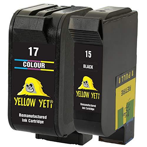 Yellow Yeti Ersatz für HP 15 17 Druckerpatronen Schwarz/Farbe kompatibel für HP Deskjet 816c 825c 827 840c 841c 842c 843c 845c 845cvr 848c [3 Jahre Garantie]