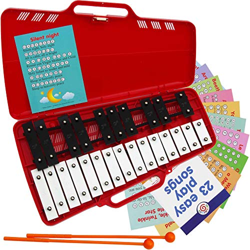 Xylophone 25 Note Chromatic Glockenspiel in a Red Plastic Case  Card Sets with 23 LetterCoded Songs