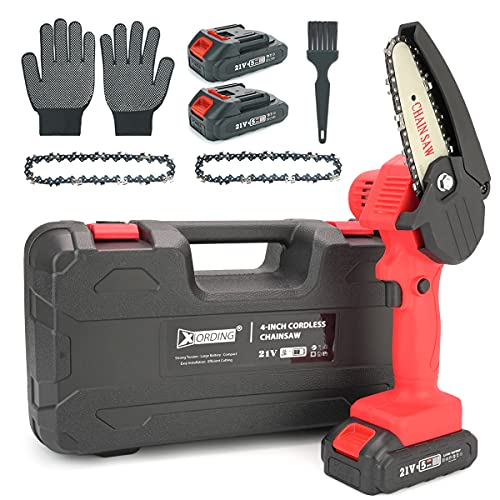 XORDING Mini Chainsaw Kit, Electric Chainsaw Cordless with 2 Portable Battery Packs, Handheld Electric Mini Chain Saw, Portable Chainsaw for Gardening, Camping, Pruning Trees, Wood Working, Red