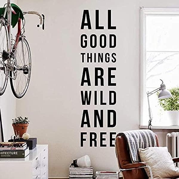 CECILIAPATER 所有美好的事物都是狂野和免费的大型励志励志旅行和冒险主题墙贴花墙贴报价贴纸 WAL 2272