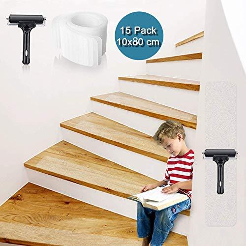 Bojim Antirutsch Treppe Streifen transparent Klebeband 10 x 80cm Set Stuffenmatten für Treppe rutschfest Boden Rutschschutz mit Walze Selbstklebend Antirutschstreifen