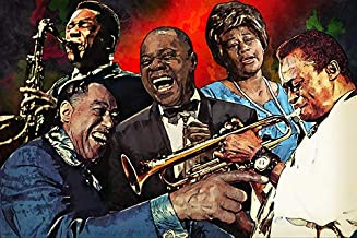 Hall of Fame Poster with Top Jazz Celebrities Collage 24x36 Best Artists Home Decor Print