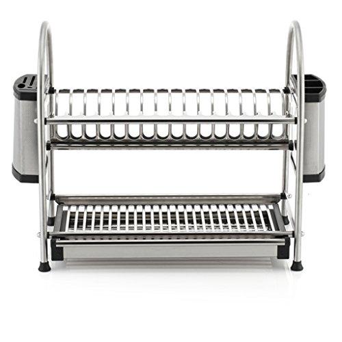 BOBE SHOP- Étagère multifonctionnelle de cuisine - doubles couches étagère en acier inoxydable / étagère de drain / plat de support / support de couteau / étagère de tasse ( Couleur : With knife holder , taille : 55.5cm )