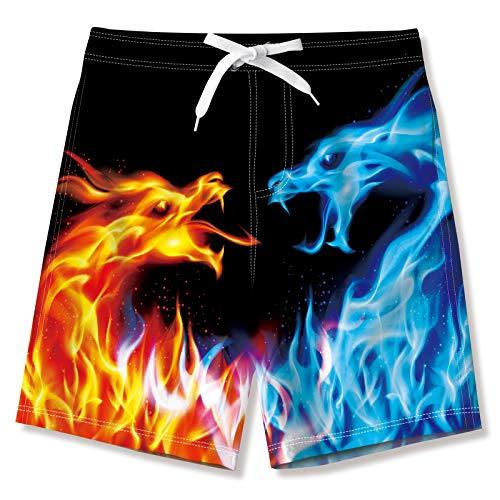 Funnycokid Jungen Badeshorts Sommer Shorts Quick Dry Kinder Badehose für Jungs mit Taschen, Roaring Dragon, 11-12 Jahre