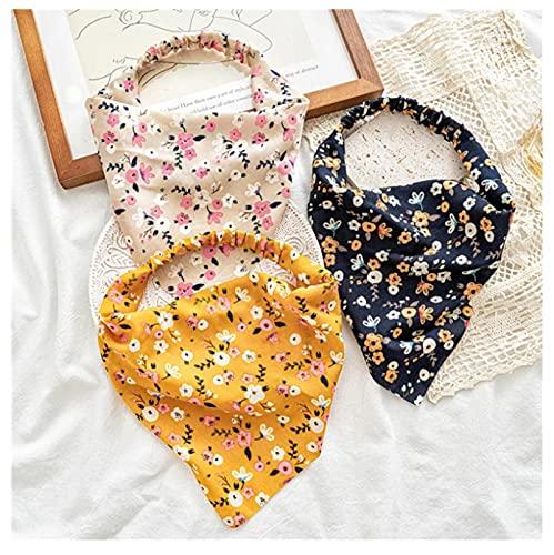 3 unids impresión floral coleteros bufanda del pelo diadema mujeres elástico banda lindo turbante diadema vendaje mujeres accesorios para el cabello