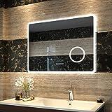 Duschdeluxe LED Spiegel Badspiegel Beleuchtung 80x60cm Badezimmerspiegel Lichtspiegel Wandspiegel...