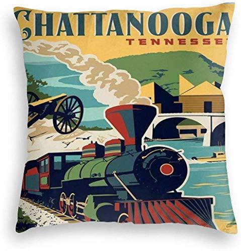 Redsheep Funda de almohada de terciopelo personalizado Chattanooga Tennee Vintage Travel Minimalista Poster Decoración del hogar Fundas de cojín con cremallera para sofá