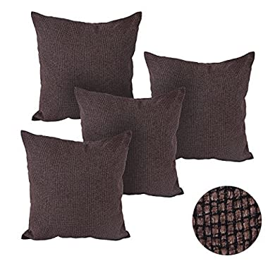 Deconovo Decorative Pillow Covers Faux Linen Linen Couch Pillows Set Of 4 Pillow Case With Invisiable Zipper 18x18 Inch Brown