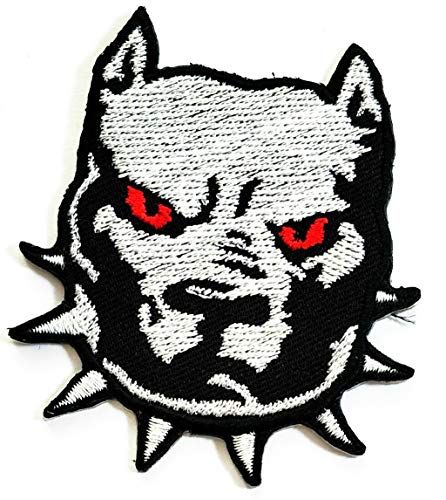 Nipitshop Patches Gray Head Pitbull Dog Kids Cartoon Patch Applique for Clothes Great as Happy Birthday Gift