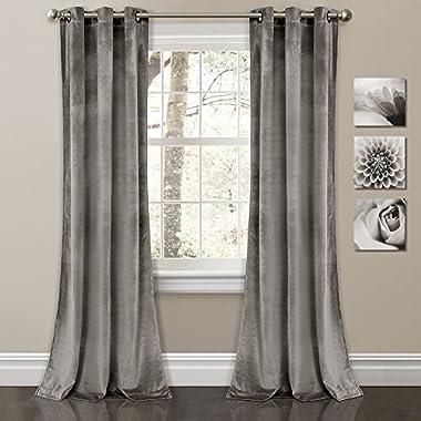 Lush Decor Prima Velvet Solid Room Darkening Window Curtain Panel Pair, 84  x 38 , Gray