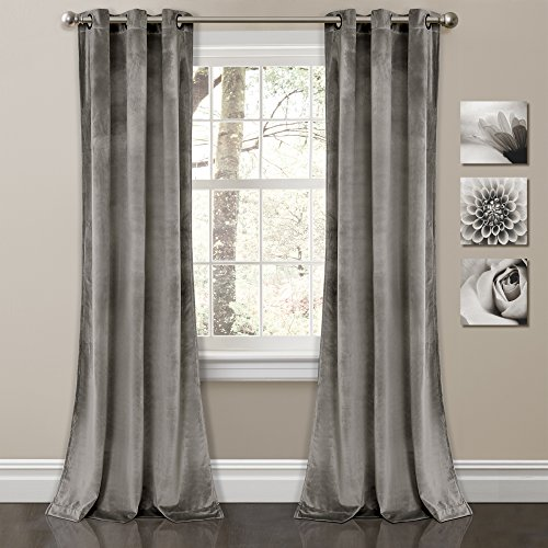 "Lush Decor Prima Velvet Curtains Color Block Room Darkening Window Panel Set for Living, Dining, Bedroom (Pair), 84"" L, Gray"