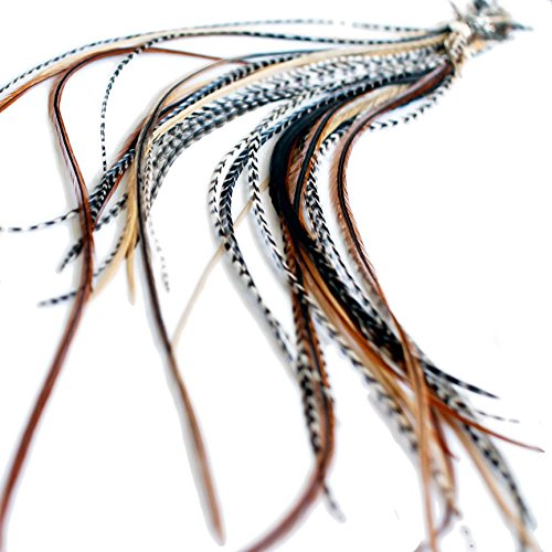 Haarextensions aus Natur-Federn, 10 superdünne Federn,  33-38 cm lang, echte Federn