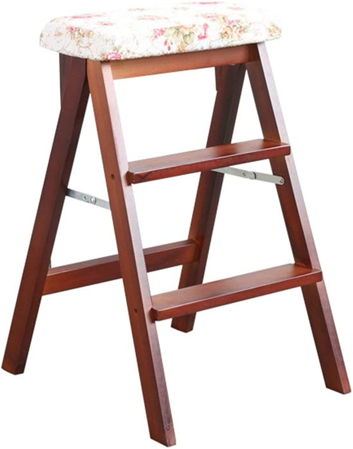 Kitchen Wooden Step Stool Ladder for Adults Solid Wood Folding Stepladder Portable Fold Up Footstool Multifunction Small Stool Bench (color   D)