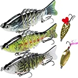 TRUSCEND Fishing Lures for Bass 4' Segmented Multi Jointed Swimbaits Slow Sinking Bionic Swimming...