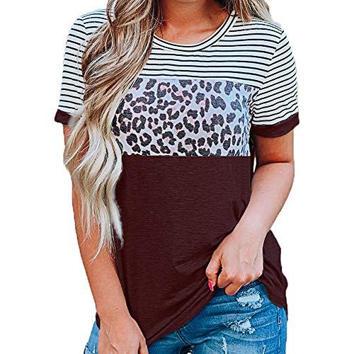T-Shirt Frühling und Sommer Damen Rundhals gestreifter Leopardenmuster Kontrastfarbe Kurzarm