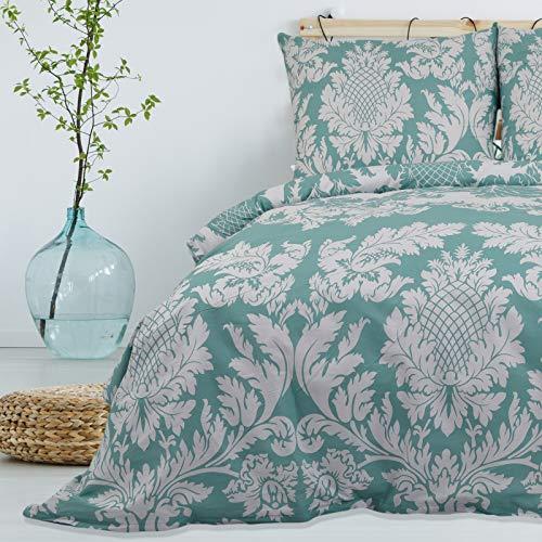 Bettwäsche 155x220 cm Deluxe 2 Teilig aus 100% Baumwolle Renforce mit Reißverschluss Bettwäscheset 1 Bettbezug und 1 Kissenbezug Komfortgröße, Farbe türkis weiß, florales Muster