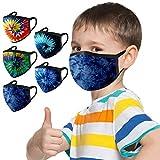 5 Stück Kinder-Mundschutz mit motiv Einfarbig/Cartoon Druck,Waschbar Wiederverwendbar,Baumwolle Stoff Atmungsaktiv,Gesichtsschutz Halstuch Für Jungen Mädchen