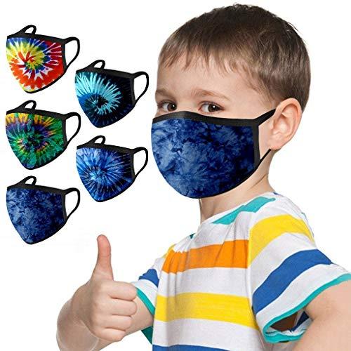 MOMOCA 5/10 Stück Kinder Mundschutz Baumwolle Schwarz Waschbar Mund-Nasenschutz Gesicht mit Motiv Bunt Lustig Staubdicht Halstuch Junge Mädchen (Dm-5 Stück, 5 Stück)