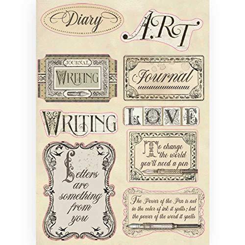 Stamperia KLSP088 Kalligraphie-Etiketten, Holzrahmen, farbig, verschieden, A5