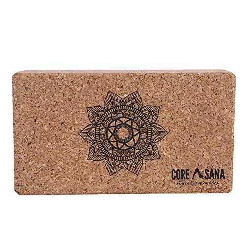 Core Asana Bloque de corcho para yoga, yoga, pilates, meditación, ladrillos de ejercicio físico (mandala)