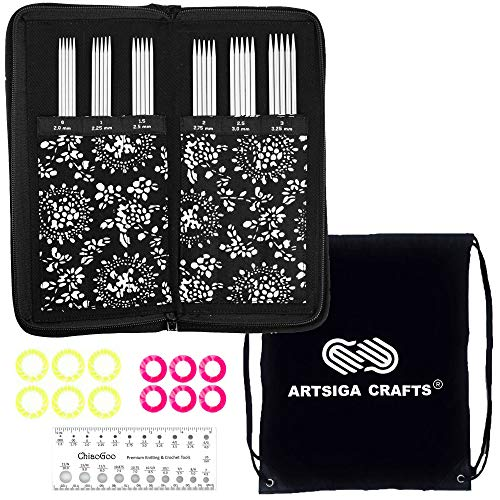 ChiaoGoo Knitting Needles Twist Lace Double Point DPN Sock Needle Set Bundle with 1 Artsiga Crafts Project Bag 6600
