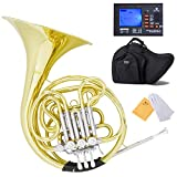 Mendini Intermediate Key of F/Bb Double French Horn with Solid Rotors String Lever Action,...