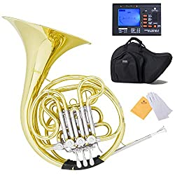 powerful F / Bb Mendini Middle Key Double French Horn String Lever Action with Solid Rotor,…