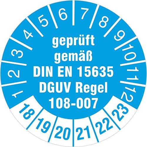 100 Stück geprüft nach DGUV Regel 108-007 Prüfetiketten / Prüfplaketten 30 mm rund Lagereinrichtungen und Geräte 2018-23