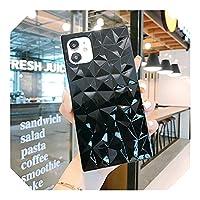 Qihhy 人気度 For iPhone 12 Pro 11 Pro Max 12 Mini X XR XS Max 7 8 6 6SPlusシリコンスクエアダイヤモンドパターンカバー用チェーンストラップブレスレットケース-Case 2-For iPhone 12