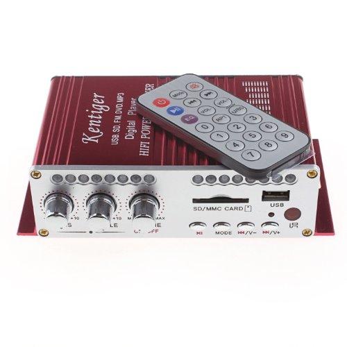 Kentiger HY-501 2*20W USB SD DVD MP3 プレーヤー オートバイ、車用の2チャンネルデジタルアンプ リモコン付属 (レッド)