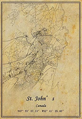 Póster de la pared del mapa de San Juan de Canadá, impresión en lienzo, estilo vintage, sin marco, decoración de regalo 25,7 x 35,5 cm