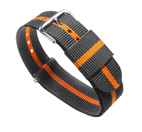 20mm Smoke/Pumpkin Standard Length- BARTON Watch Bands - Ballistic Nylon NATO Style Straps