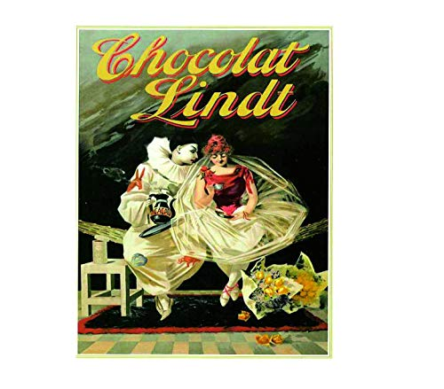 """Chocolat Lindt Vintage Style Metal Advertising Wall Plaque Sign Or Framed Picture Frame,Aluminum Metal Signs Tin Plaque Wall Art Poster For Home Decor 12""""x8"""""""