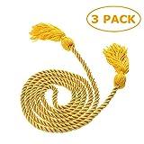 Cordones de graduación de poliéster de 67 pulgadas con borla para estudiantes de graduación (dorado)