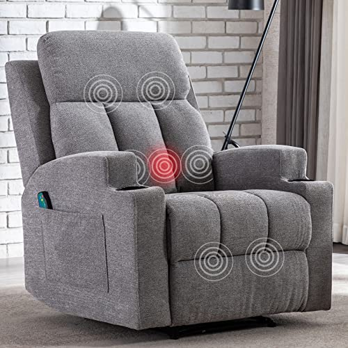 ANJ HOME Massage Recliner Chairs with Heat for Living Room, Overstuffed Breathable Fabric Reclining Chair with Side Pockets and Cup Holders, Manual Single Sofa Home Theater Seating, Grey