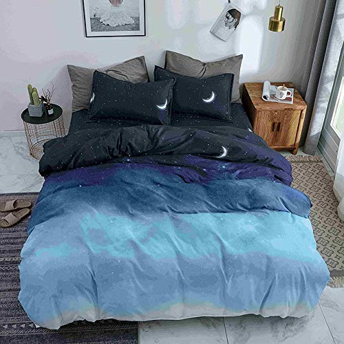 Treer - Duvet Cover Set 3 Pieces Complete Bedding Set minimalist Effects MateRial 100% cotton, Cool & Breathable (Double-200x200cm,Blue)