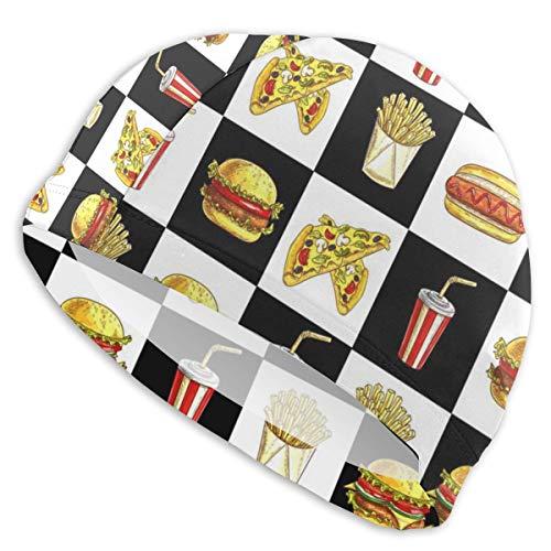 Lanswim Swim Cap for Women/Men,Waterproof Hair Swimming Caps Special Printed Adults Comfortable Fit Swimming Cap for Hamburger Hot Dog Fries