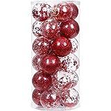 Sea Team 70mm/2.76 Adornos Variados Transparentes Bolas de Navidad,Decoraciones Ornamentales Resistente.para Colgar en el árbol de Navidad,Paquete de Regalar Portátil Set de Navidad(24pcs)