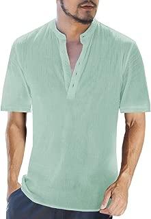 Beotyshow Mens Linen Cotton Henley Shirt Banded Collar Button Down 3/4 Short Sleeve Collarless Dress T Shirts for Men