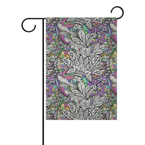 DEZIRO Drapeau de Jardin Double Face Motif Floral Abstrait, Polyester, 1, 12x18(in)